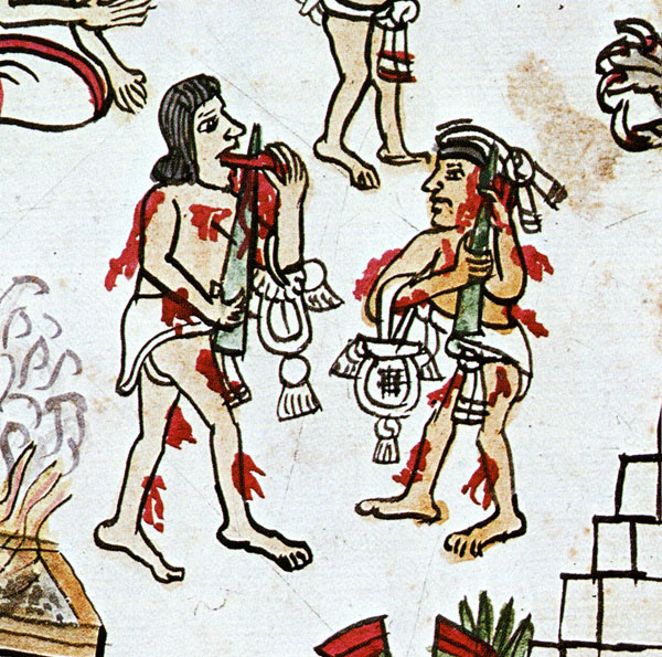 "It seems that the aboriginal populations who travelled across the Bering Straits from Siberia—those who were to become the native peoples of the Americas—developed the sacrifice of ritual blood-letting further. In his essay, 'A Fashion for Ecstasy: Ancient Maya Body Modifications', Wes Christensen details Mayan practices of tattooing, piercing, and blood self-sacrifice. As well as men mutilating their genitals, the piercing of the tongue was common, in men and in women. As Christensen says, ""The psychological equation of the penis and the tongue needs little reiteration."" His view is that the practice of ""pulling spiny cords through holes in the tongue"" may have been important for female Mayan ritualists: ""If the wounding of the Male expresses the desire to own the magically fertile menstrual flow by mimicking it, the symbol seems less important than its function of linking the opposing forces of mother/father, sky/earth in one ritual practitioner. This way of looking at the rite is less male dominated, as well, as it allows for the pervasive influence of women in the ritual life of shamanistic village life. The tongue sacrifice, then, is the woman sorceror's rite—a rite in which she symbolically imitates the male to achieve the same equilibrium."""