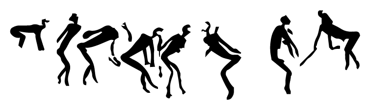 Figure 3: A row of dancers entering trance, from Fetcani Glen, Barkly East, Lesotho. Note the nasal flows and the hooves instead of feet in some instances.